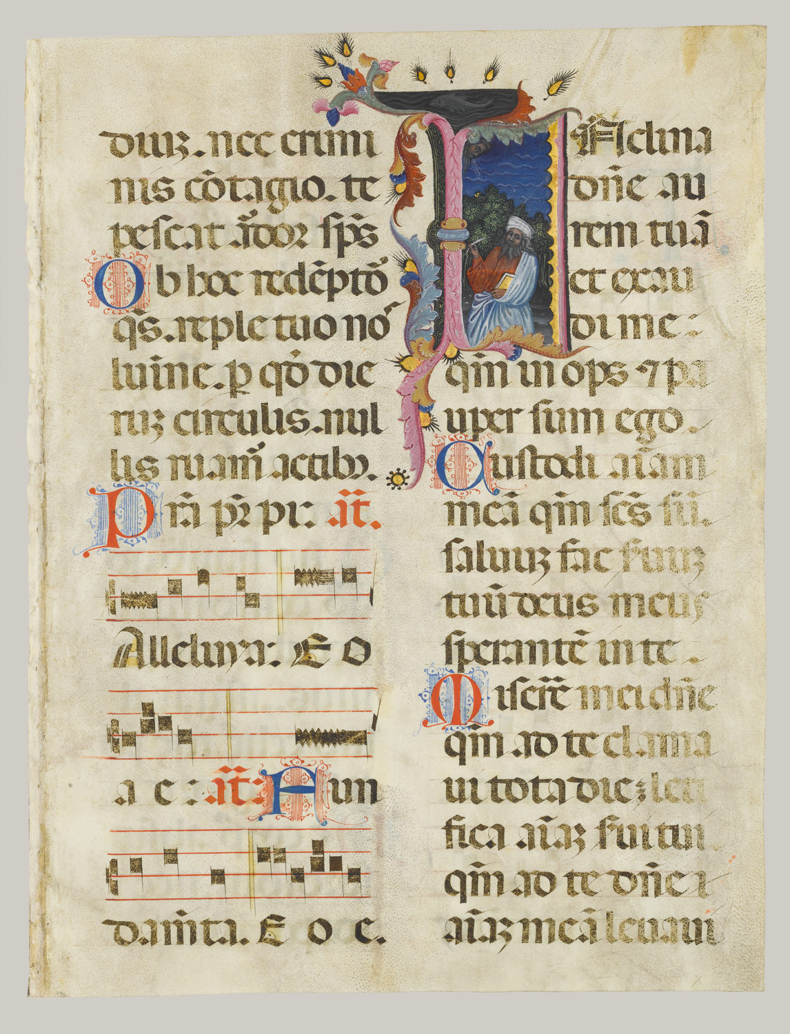 Working Title/Artist: King David in an Initial I Leaf from a psalter Department: Medieval Art Culture/Period/Location: HB/TOA Date Code: Working Date: photography by mma, DP158477.tif retouched by film and media (jnc) 3_19_09
